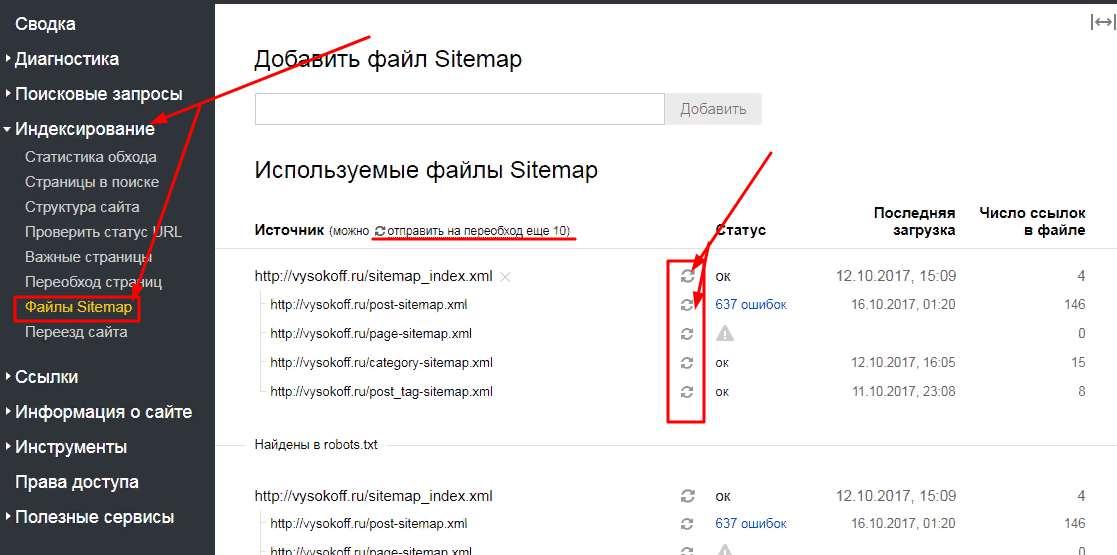 Переобход sitemap в Яндексе