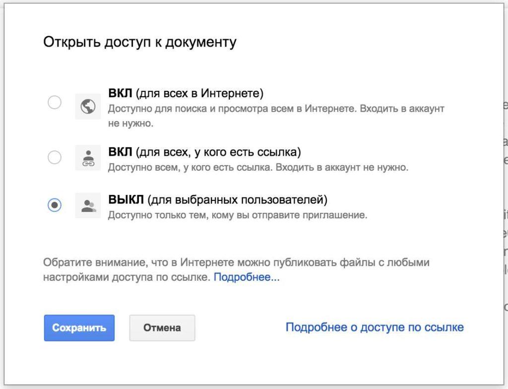 Совместный доступ в Гугл документах